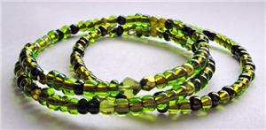 Foliage Green Glass Bead Memory Wire Bracelet