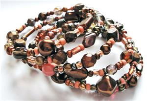Coral Pink/Brown Glass Bead Memory Wire Bracelet