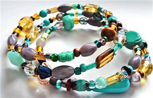 Turquoise Mix Glass Bead Memory Wire Bracelet