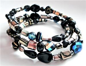 Romeo Mix Glass Bead Memory Wire Bracelet