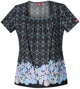 Dickies Women's Enzyme Print Sq Neck Scrub Tops