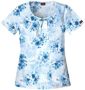 Dickies Womens New Blue Print Scoop Neck Scrub Top