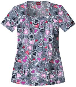 Dickies Women's Hip Flip Print Sq Neck Scrub Tops