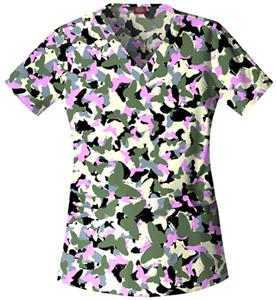 Dickies Women's Gen Flex Print V-Neck Scrub Tops