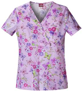 Dickies Women's Fashion Print Mock Wrap Scrub Tops