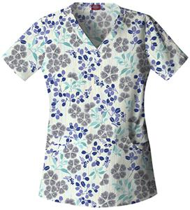 Dickies Women's Enzyme Print V-Neck Scrub Tops