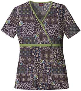 Dickies Women&#39;s Natural Print Mock Wrap Scrub Tops