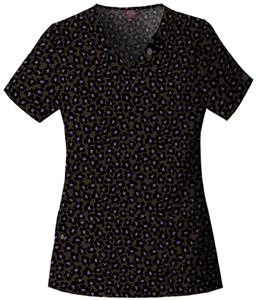 Dickies Women's Natural Print V-Neck Scrub Tops