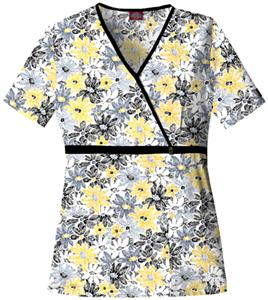 Dickies Women's Natural Print Mock Wrap Scrub Tops