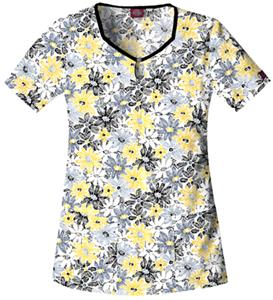 Dickies Women's Natural Print Keyhole Scrub Tops