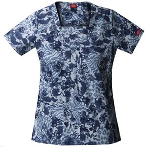 Dickies Womens New Blue Print Sq Neck Scrub Top