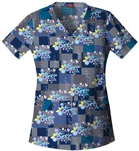 Dickies Women&#39;s Enzyme Print V-Neck Scrub Tops