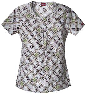 Dickies Women's Natural Print Rnd Neck Scrub Tops