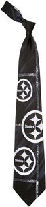 Eagles Wings NFL Steelers Brushed Steel Silk Tie