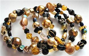 Gold Mix Glass Bead Memory Wire Bracelet
