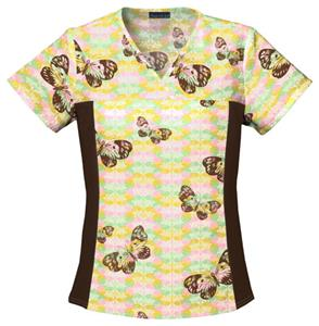 Cherokee Women&#39;s Flexibles Print V-Neck Scrub Tops