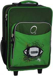 O3 Kids Green Football Suitcase With Cooler