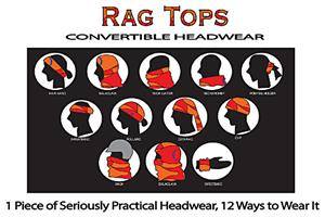 Adult Bandana Black Rag Top Convertible Headwear