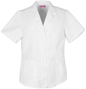 Cherokee Women&#39;s Pro White Lapel Collar Scrub Tops