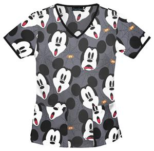 Cherokee Tooniforms Mickey Scream Scrub Tops