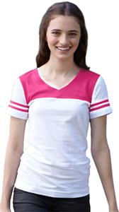 LAT Sportswear Jr V-Neck Football Tee