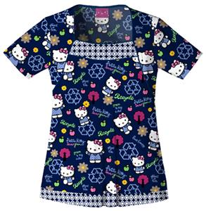 Cherokee Tooniforms Green Hello Kitty Scrub Tops