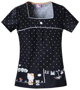 Cherokee Tooniforms Hello Kitty Rain Scrub Tops