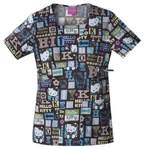 Cherokee Tooniforms Hello Kitty Name Tag Scrub Top