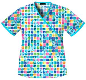 Cherokee Tooniforms Blue&#39;s Mosaic Scrub Tops