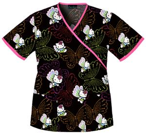 Cherokee Tooniforms Dots Of Butterflies Scrub Tops