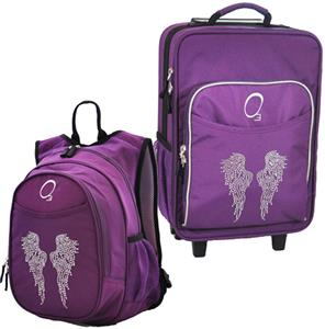 Kids Luggage & Backpack Set Rhinestone Angel Wings