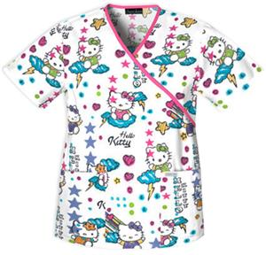 Cherokee Tooniforms Scribble Hello Kitty Scrub Top