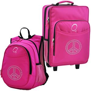 Kids Luggage & Backpack Set Bling Rhinestone Peace