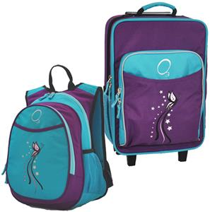 Kids Luggage & Backpack Set Turquoise Butterfly