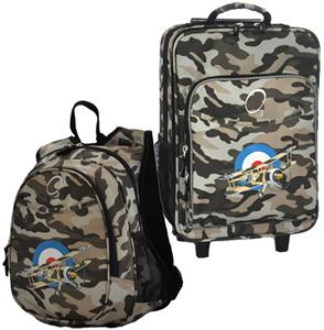 Kids Luggage &amp; Backpack Set Camo Airplane