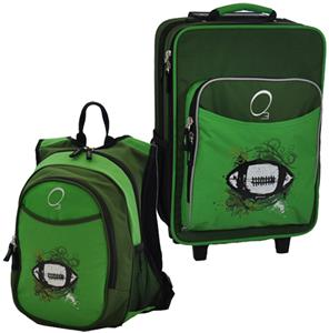 Kids Luggage & Backpack Set Green Football
