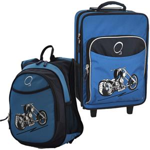 Kids Luggage & Backpack Set Blue Motorcycle