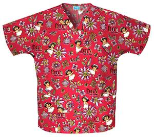 Cherokee H.Q. Paint By Numbers V-Neck Scrub Tops
