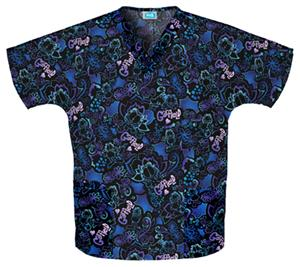 Cherokee H.Q. Velvet Cat V-Neck Scrub Tops