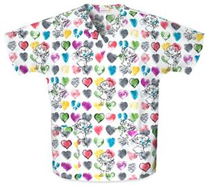Cherokee H.Q. Painted Hearts V-Neck Scrub Tops