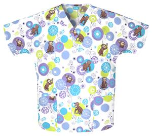 Cherokee H.Q. Monkey Bubble V-Neck Scrub Tops