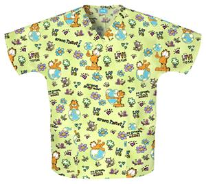 Cherokee H.Q. Planet Garfield V-Neck Scrub Tops