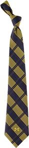 Eagles Wings NCAA Michigan Woven Plaid Tie