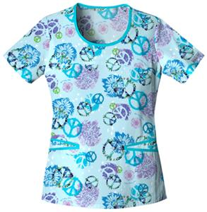 Cherokee Love This Life Scoop Neck Scrub Tops