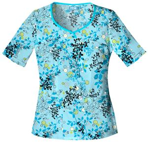 Cherokee Women&#39;s H.Q. Print V-Neck Scrub Tops