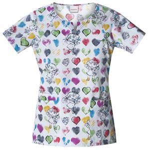 Cherokee H.Q. Painted Hearts Round Neck Scrub Tops