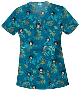 Cherokee H.Q. Dora Enchantment Mock Wrap Scrub Top