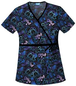 Cherokee H.Q. Velvet Cat Mock Wrap Scrub Top