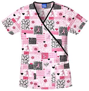 Cherokee Women&#39;s H.Q. Print Mock Wrap Scrub Tops