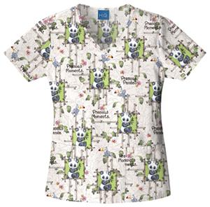 Cherokee H.Q. Precious Pandas V-Neck Scrub Tops